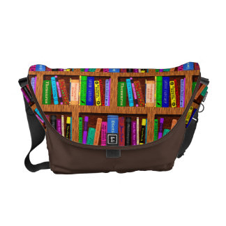 Library Book Shelf Pattern for Bookworms Readers Messenger Bag