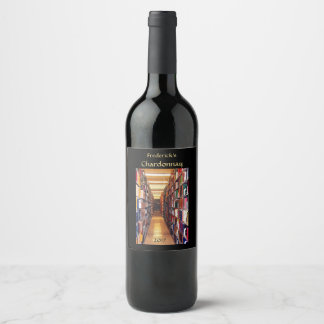 Library Books Wine Label