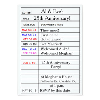 """""""Library Card"""" Anniversary Party Invitations"""