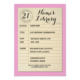 Library Card Book Birthday Party Pink Invite