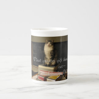 Library cat tea cup
