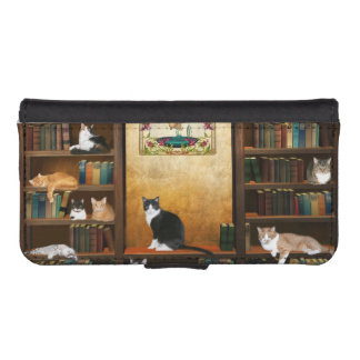Library cats iPhone SE/5/5s wallet case