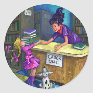 Library Check Out Artwork Classic Round Sticker