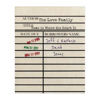 Library Due Date Card Custom Family Art