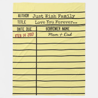 Library Due Date Card Fleece Blanket -Customize It