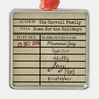 Library Due Date Family Christmas Ornament
