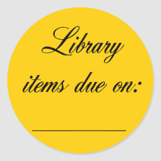 Library Due Date Reminder Classic Round Sticker