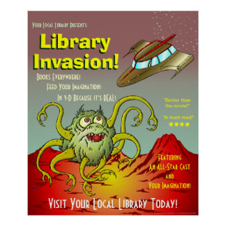 Library Invasion! Reading Promotion Poster
