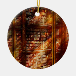 Library - It starts with a single page 1920 Round Ceramic Ornament
