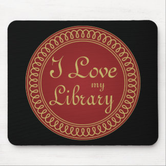 Library Lover Red and Gold Reading Gift Mouse Pad