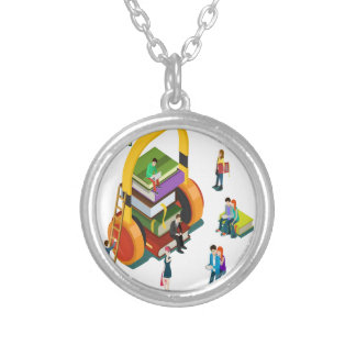 Library Lovers' Month - Appreciation Day Silver Plated Necklace