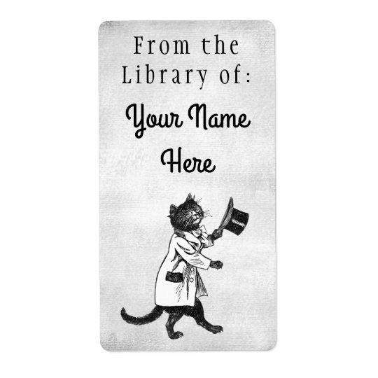 Library of Top Hat Cat Etching Faux Canvas Labels