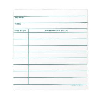 Library Pocket Card - Blue Notepad