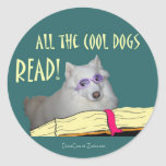 Library - Samoyed - Cool Dogs Read Literacy Round Stickers