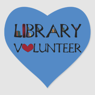 Library Volunteer - Choose Colour Heart Sticker