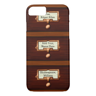 Library Wood Card Catalog Book Drawers | Name iPhone 7 Case