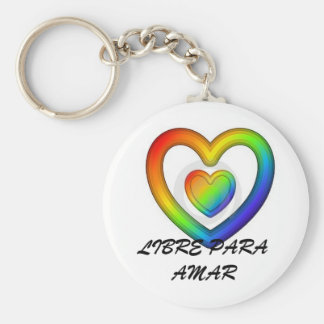 LIBRE PARA AMAR-RAINBOW HEART BASIC ROUND BUTTON KEYCHAIN