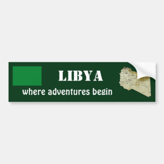 Libya Flag + Map Bumper Sticker