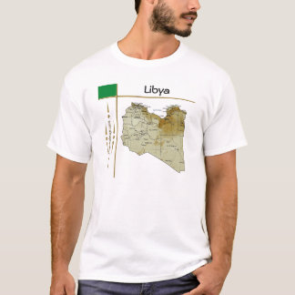 Libya Map + Flag + Title T-Shirt