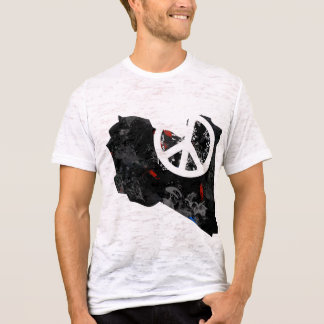 Libya Trendy Peace Sign with Libyan map T-Shirt
