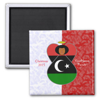 Libyan Flag Angel Red White Square Magnet