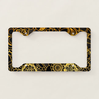Licence Plate Frame Cover Floral Doodle Gold G523