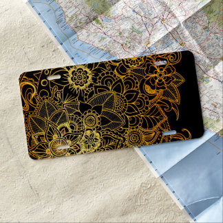 License Plate Cover Floral Doodle Gold G523