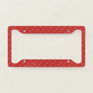 License Plate Frame - Diamond Plate Red