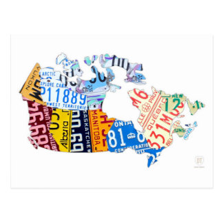 License Plate Map of Canada on White Postcard