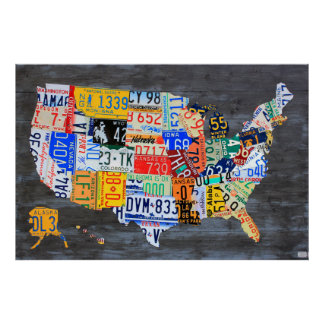 License Plate Map of the USA on Grey Wood Planks Poster