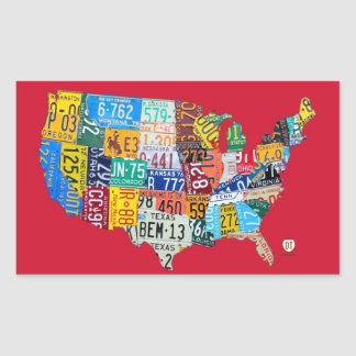 License Plate Map of the USA Sticker on Bright Red