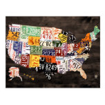 License Plate Map of the USA Warm Colours Edition Postcard