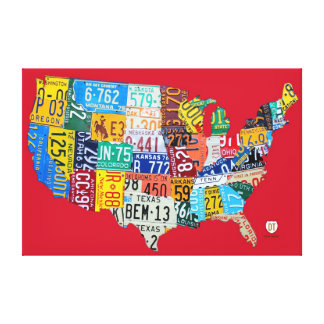 License Plate Map of the USA Wrapped Canvas Red