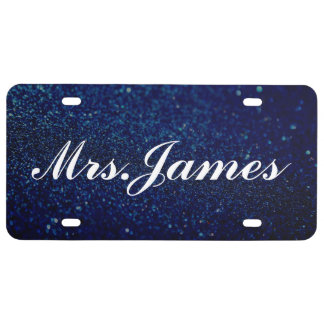 License Plate - Mrs. Glitter III Blue