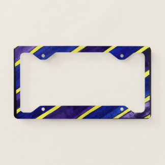License plate with striped yellow, purple, and blu license plate frame