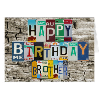 License Plates Brother Birthday Card