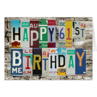 License Plates Happy 61st Birthday Card