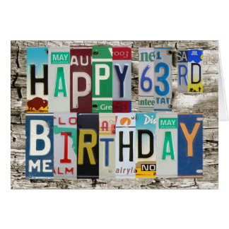 License Plates Happy 63rd Birthday Card