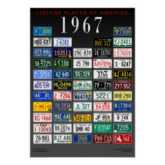 License Plates of America poster - 1967