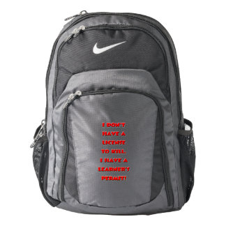 License to kill text backpack