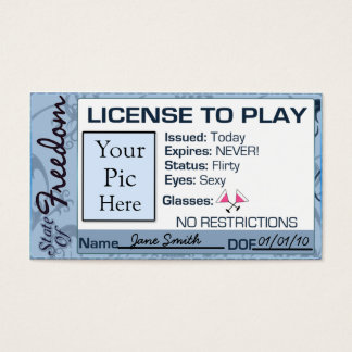 License To Play, Divorce Party Favor Business Card