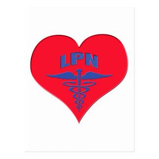 Licensed Practical Nurse LPN Caduceus Heart Post Card