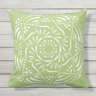 Lichen Mandala Throw Pillow