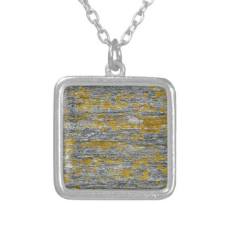 Lichens on granite stone silver plated necklace
