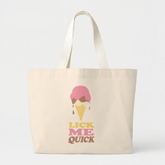 Lick me ice cream dripping graphic large tote bag