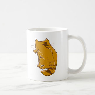 licking tabby cat sweet cartoon coffee mug