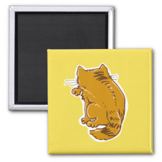 licking tabby cat sweet cartoon square magnet