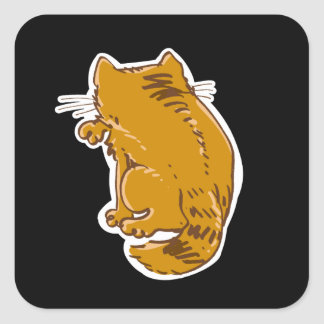 licking tabby cat sweet cartoon square sticker