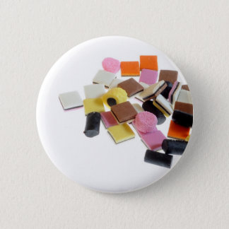 Licorice candy with copy space 2 inch round button