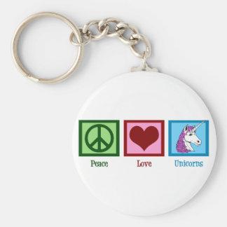 Licornes d'amour de paix porte-clé rond